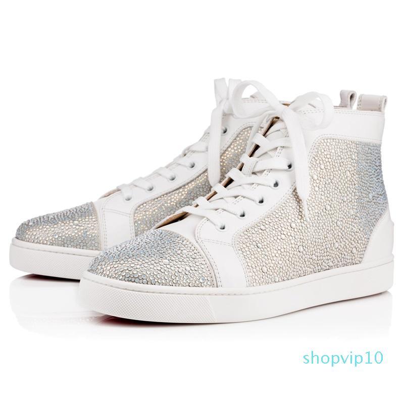 Tasarımcı Moda Tasarımcısı Çivili Dikenler Flats ayakkabı Erkekler Kadınlar Partisi Gerçek Deri Sneakers S04 için Kırmızı Alt RAHAT Ayakkabı