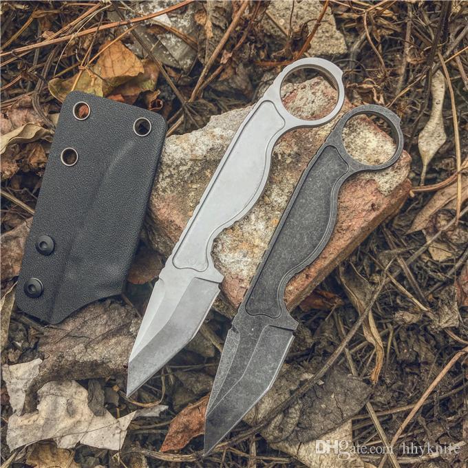 서바이벌 스트레이트 나이프 440C 스톤 워시 블레이드 Stainlss 스틸 핸들 ABS K Sheath EDC 도구가있는 고정 블레이드 나이프