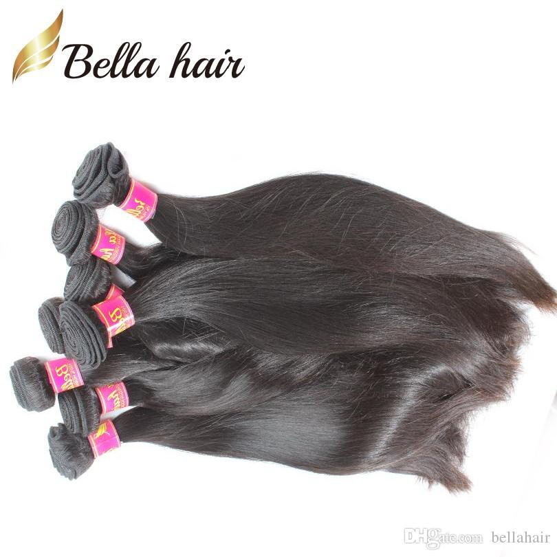 Bellahair未処理ペルーバージン髪織りストレートミンクヘア人間の髪二重緯糸伸びのバルク卸売ナチュラルカラー