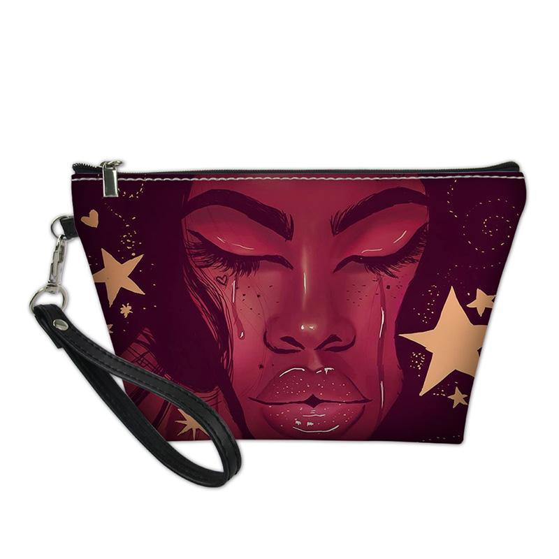 HYCOOL Sacs cosmétiques Femme Sad Star Beauty africaine Imprimer les femmes Make Up Pouch Adolescent filles légère lisse Sacs Zipper