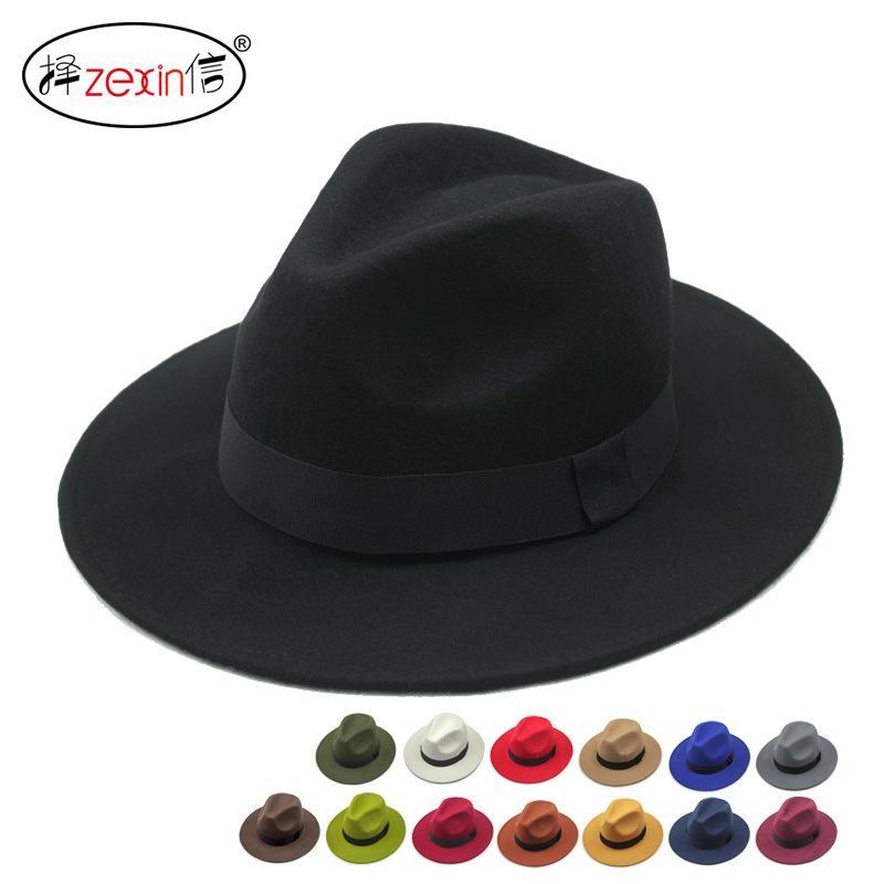Luxury women hats Vintage Autumn Winter Wool Women's Men Fedora hats Floppy Trilby felted hat Ladies cowboy cap free shipping