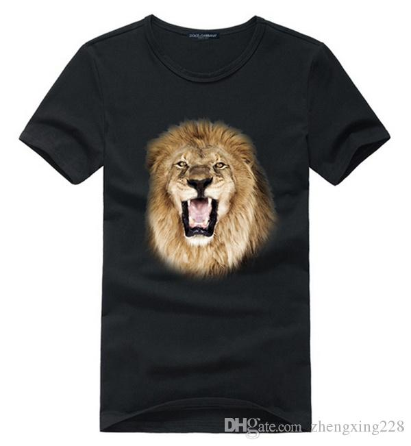 New 2019 Men Personality 3D Lion Print T-Shirt Young Students Casual Round Neck Sweatshirt Bottoming Shirt Size S-XXL