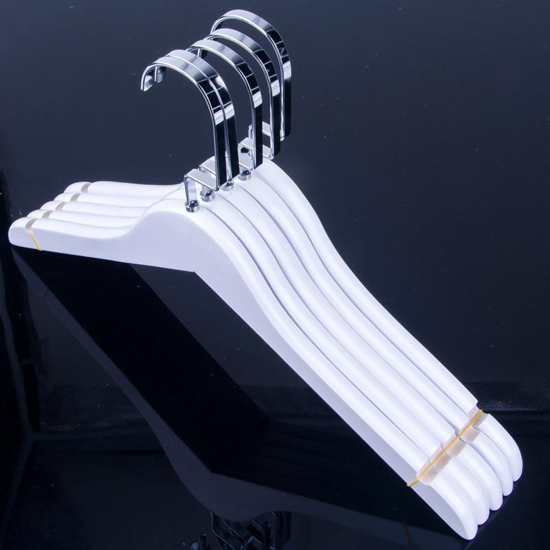White Color Wood Lady Women Cloth Coat Suite Dress Hanger with Notches for Household Store Office Hotel