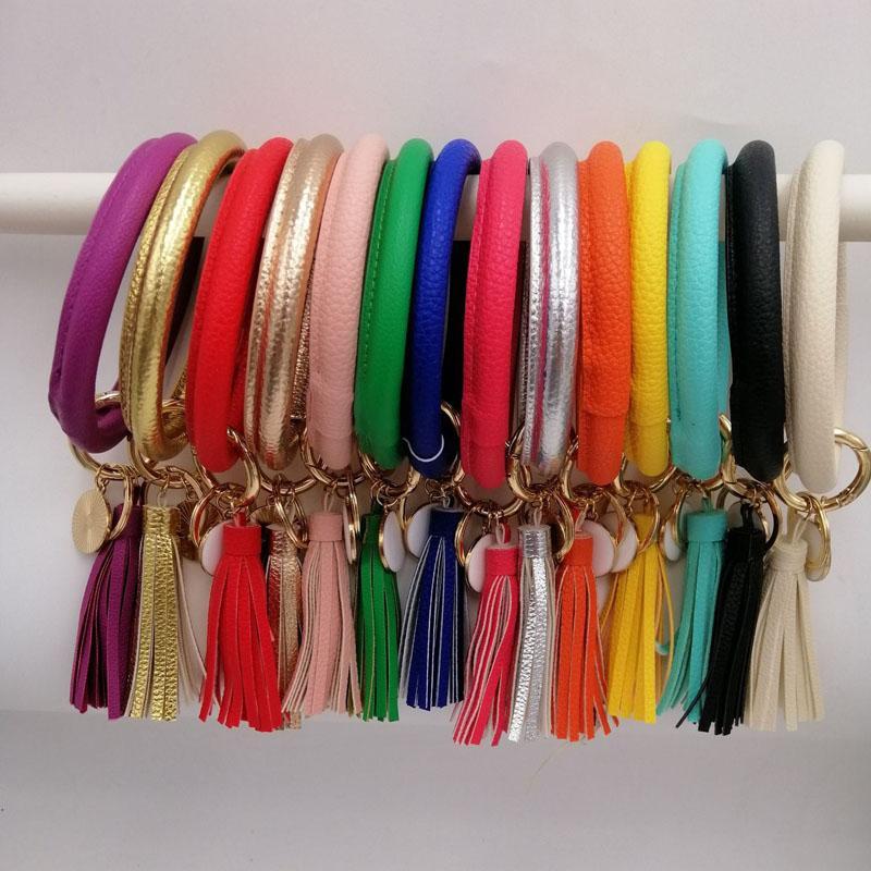 27 Colors Leather Tassel Bracelet Holder Cactus Monogrammed Wristlet Keychain Bracelet Bangle Keyring Large Circle Key Ring For Women Girls