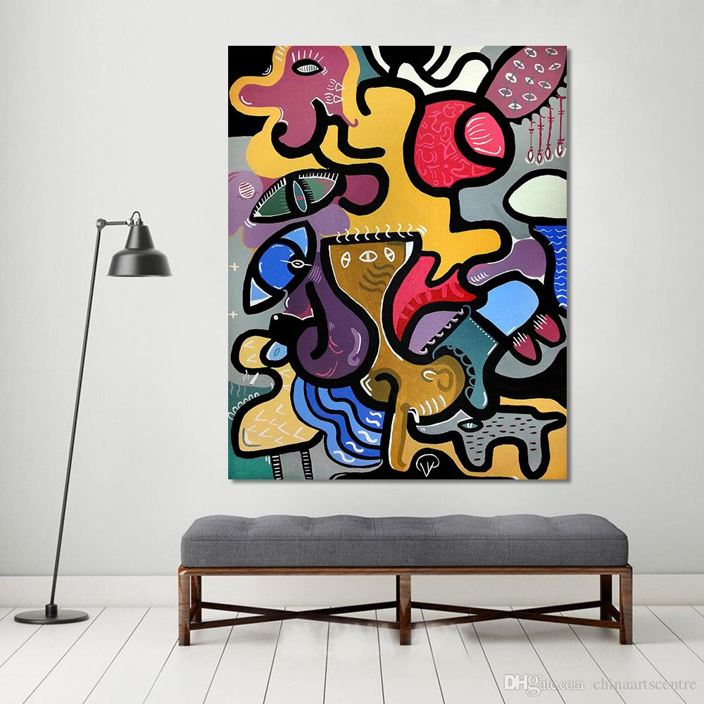 Picassos Cat Woman Handpainted & HD Print Abstract Animal Art Oil Painting On Canvas Wall Art Home Office Deco High Quality p134