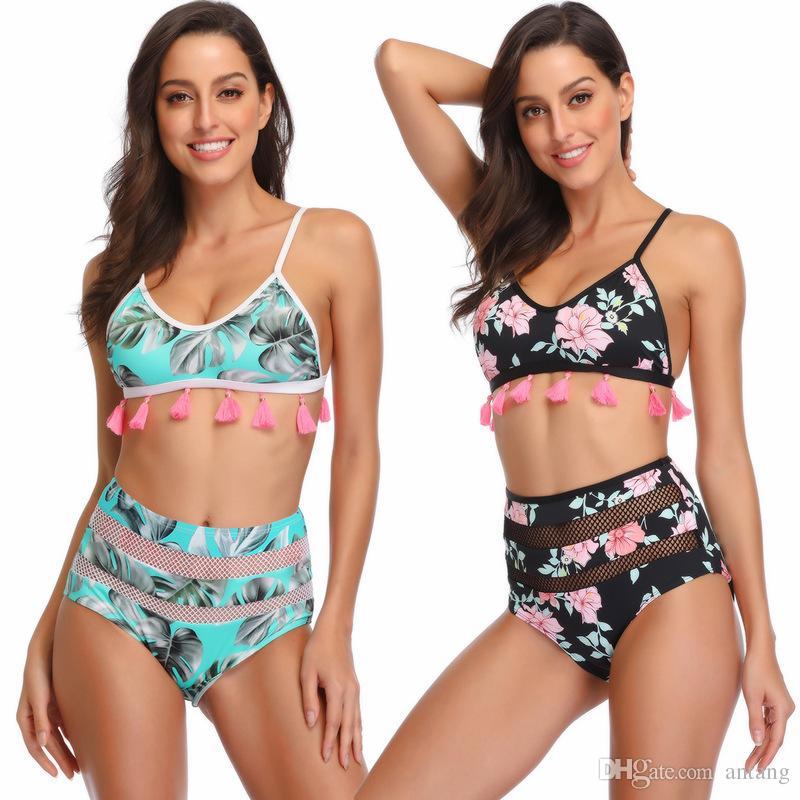 Costume da bagno bikini bicolore a due pezzi con cinturino in nappa a balze sexy in pizzo da spiaggia, due colori, 1 set / lotto