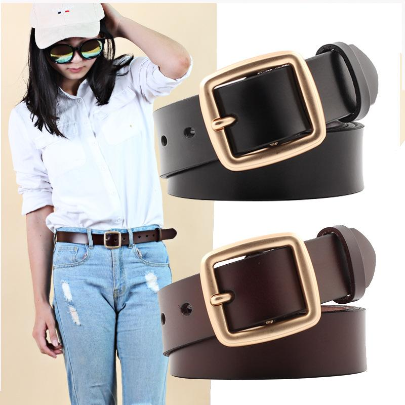Novas Mulheres de couro genuíno Belt para a correia Feminino Casual All-jogo Ladies ajustável Cintos Designer de alta qualidade Marca