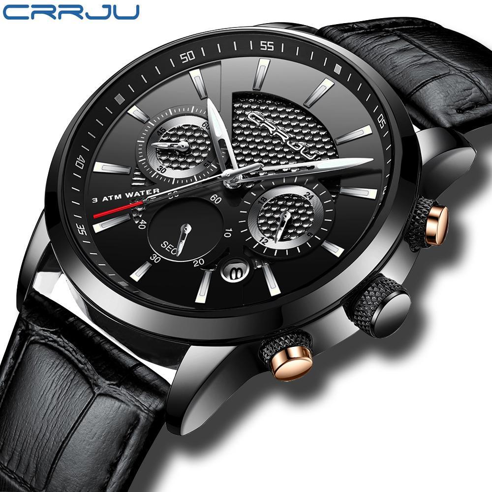 جديد ساعات رجالية فاخرة CRRJU العلامة التجارية للرجال جهاز توقيت ساعات رياضية عالية الجودة حزام من الجلد الكوارتز ساعة اليد Relogio Masculin