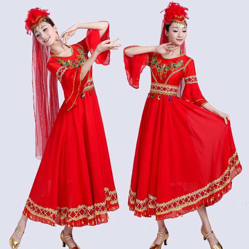 Ouïgoure du Xinjiang danse Vêtements pour adultes ethnique robe performance festival robe de style Costume Inde danseuse folklorique chinoise vêtements de scène rouge