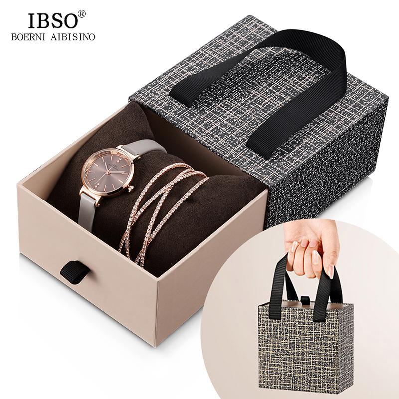 IBSO cristal pulseira relógios Set Feminino de alta qualidade quartzo relógio de luxo Women Watch presente CJ191217 Bangle Set Para Namorados
