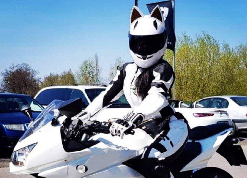 NITRINOS capacete da motocicleta rosto completo com orelhas de gato preto amarelo rosa branca