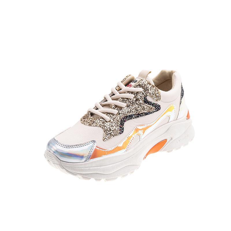 Frauen-Schuhe 2019 Neue Chunky Turnschuhe für Frauen Vulcanize Schuhe beiläufige Art und Weise Leder-Schuhe Frauen-Plattform-Turnschuhe Sport weiblich