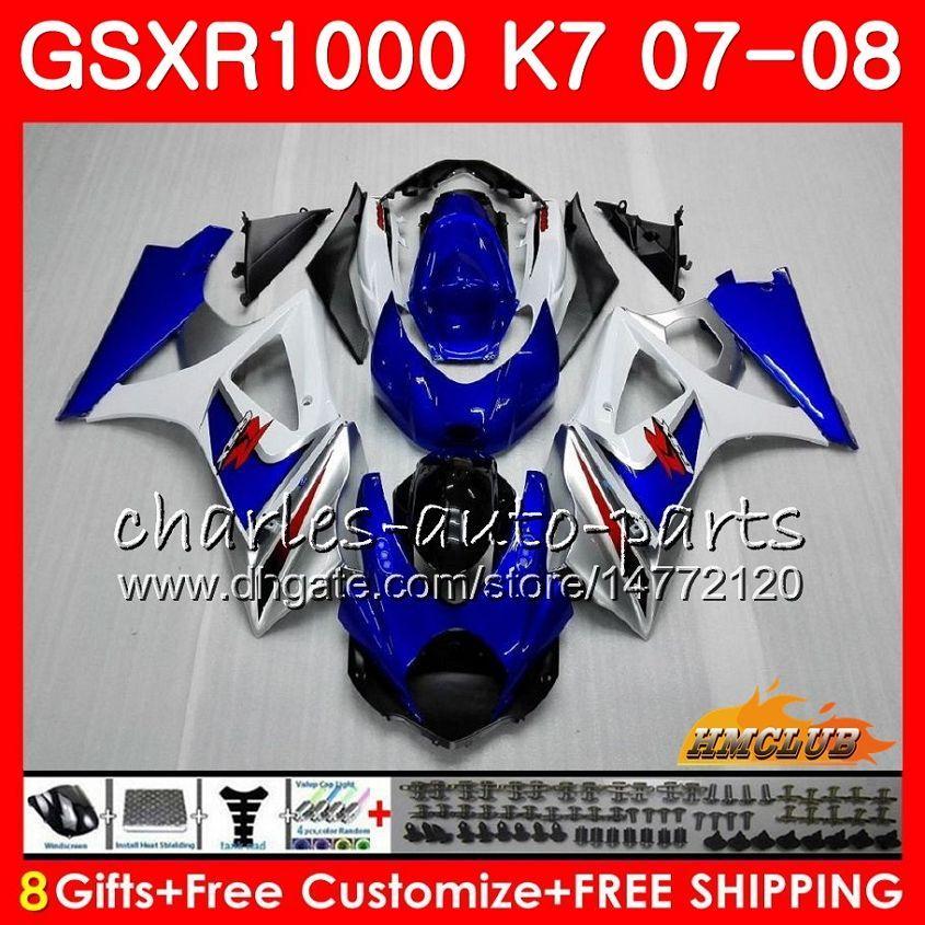 Karosseriewerk blau heiß für SUZUKI GSXR-1000 GSX-R1000 GSXR1000 07 08 Karosserie 12HC.8 GSX R1000 07 08 K7 GSXR 1000 2007 2008 Komplette Verkleidung