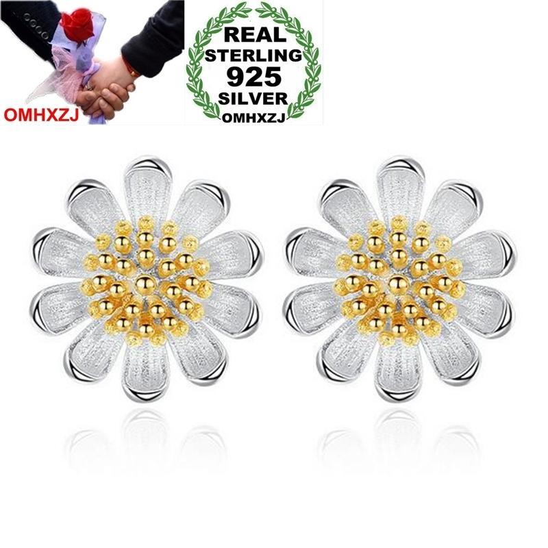 OMHXZJ Toptan Tatlı Moda Vahşi Kadın Kız Düğün Hediyesi Altın Taze Papatya Ayçiçeği 925 Ayar Gümüş Saplama Küpe YS442