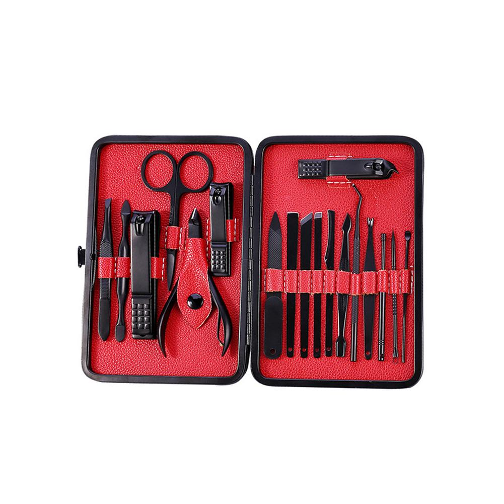 Set di forbici per unghie in acciaio inox 18In Set di manicure Set di pedicure per manicure professionale con contenitore Blak classico