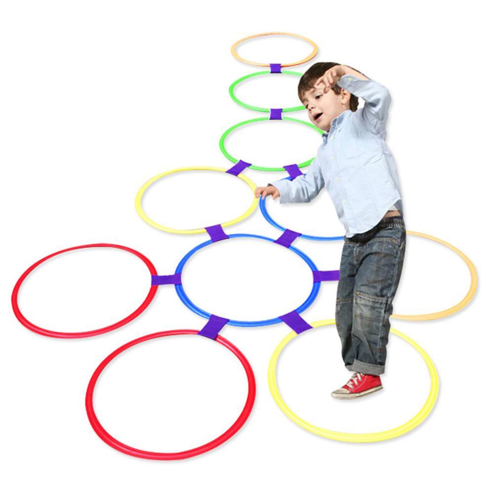 في الهواء الطلق للأطفال مضحك التربية البدنية الرياضة لعب شعرية السريع حلقة مجموعة لعبة مع 10 الأطواق 10 وصلات بارك لعب أولاد بنات