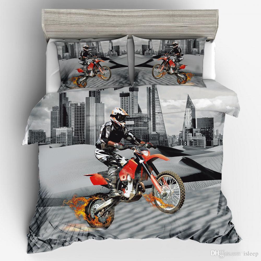 3D Baskı Motosiklet Moda Desen Tüm Boyut Için Yastık Kılıfı ile 2/3 Adet Yatak Takımları