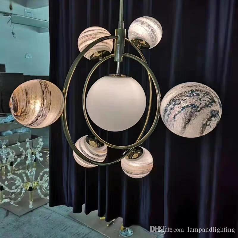 현대적인 장식 글로브 볼 유리 펜던트 램프 장식 G9 LED 거실에 조명기구를 교수형