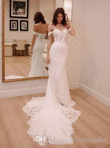 Hombro atractivo cordón de la sirena de boda elegante Dreses barrido longitud de encaje de tul boda de playa se viste barato