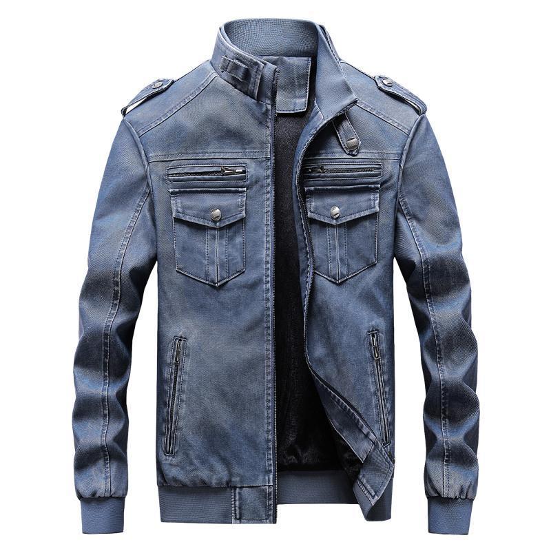 Pelle tempo libero PU PU caldo del motociclo del rivestimento di cuoio degli uomini di modo MANTLCONX nuovo arrivo giacca da uomo Cappotti maschile Cappotti 6XL