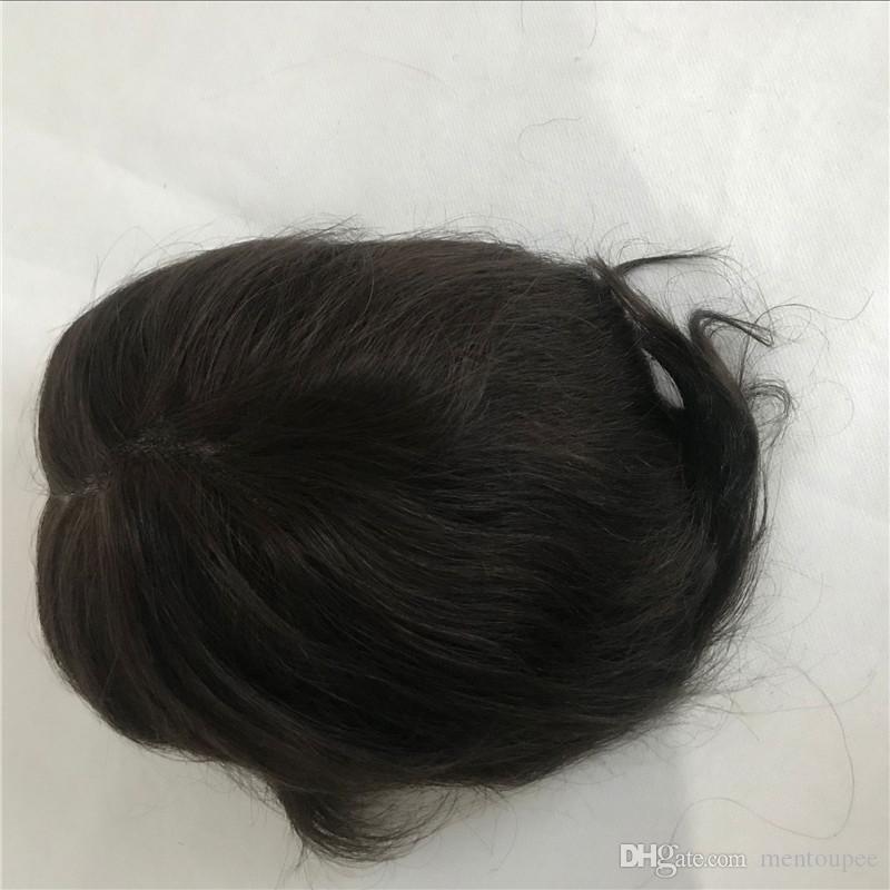Full Pu Men Toupee Alto Descuento Pu Mens Peluca Durable 8 * 10 pulgadas Natural Recta # 1B Toupee Sistema de Reemplazo de Alta Qulity