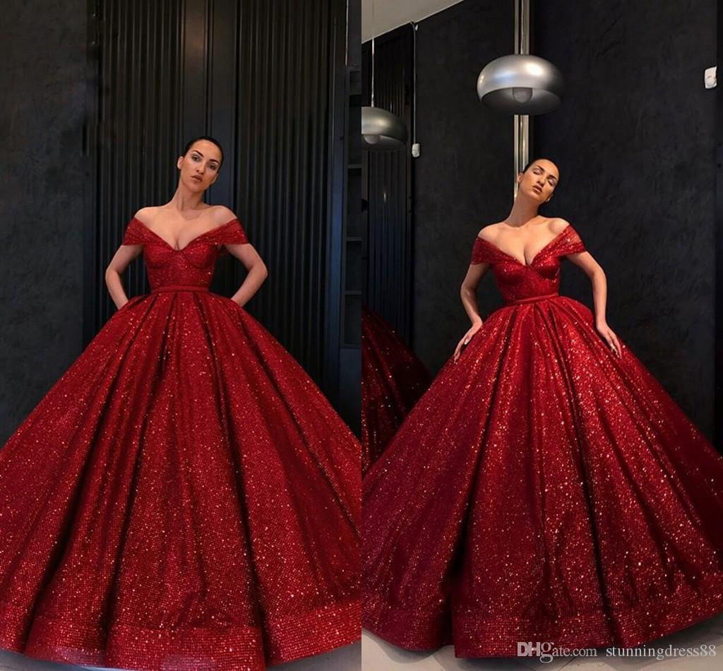 Sparkly Sequined Wine Red Evening Quinceanera Dresses Ball Gown V neck Cap Short Sleeves with Pockets Birthday Party Prom Formal Dress