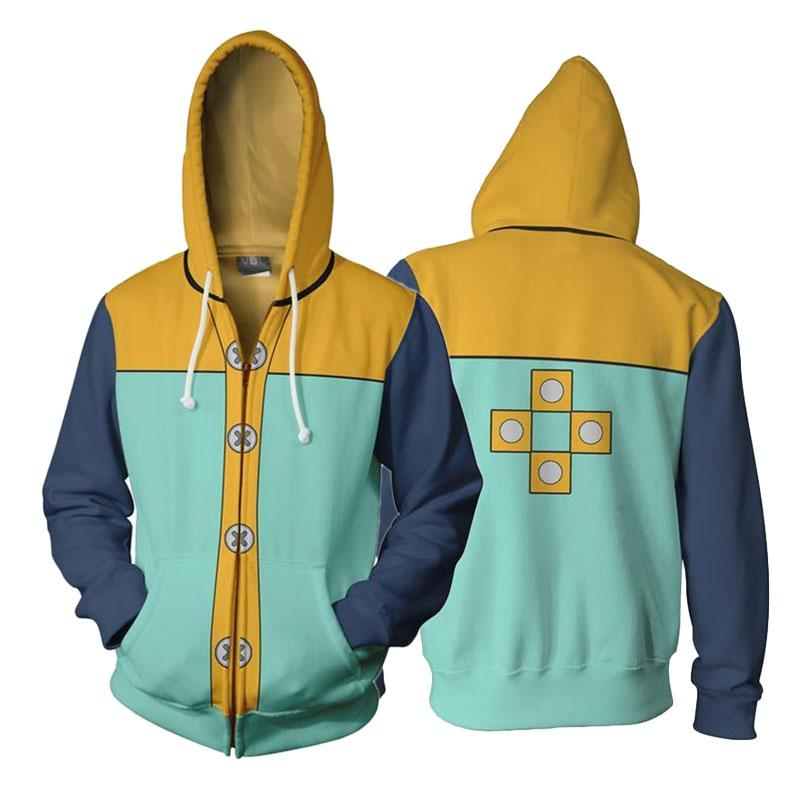 Anime The Seven Deadly Sins King Cosplay Hooded 3D Printed Zip Up Jacket Sweatshirt Streatwear Long Sleeve Warm Coat S-5XL