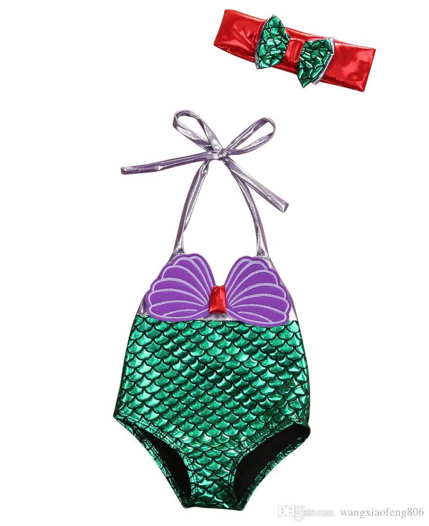 الأطفال ملابس السباحة قطعة واحدة الأطفال الفتيات حورية البحر المايوه لطيف البيكينيات مايو القوس أغطية الرأس طفل ملابس السباحة مجموعة