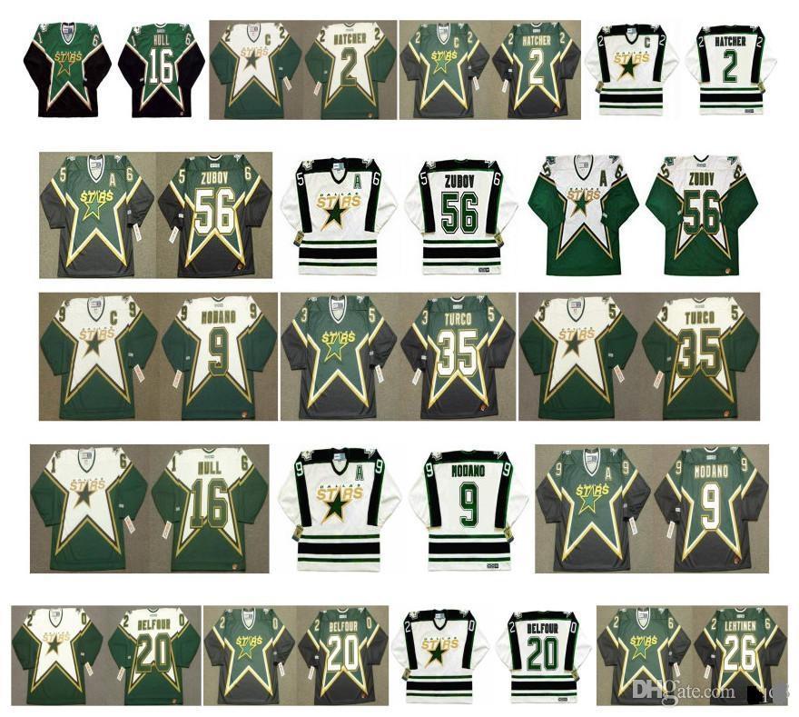 Vintage Dallas Stars Jersey 56 Sergei Zubov 35 Marty Turco 9 Mike Modano 16 Brett Hull 2 Derian Hatcher 20 Ed Belfareur Lehtinen Retro hockey