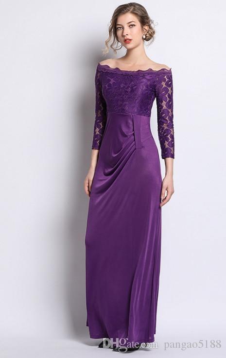 High-end marka tasarımcısı kadın elbise Avrupa ve Amerikan Tarzı Dantel Yaka 9-dakikalık kol orta uzunlukta elbise new264 #