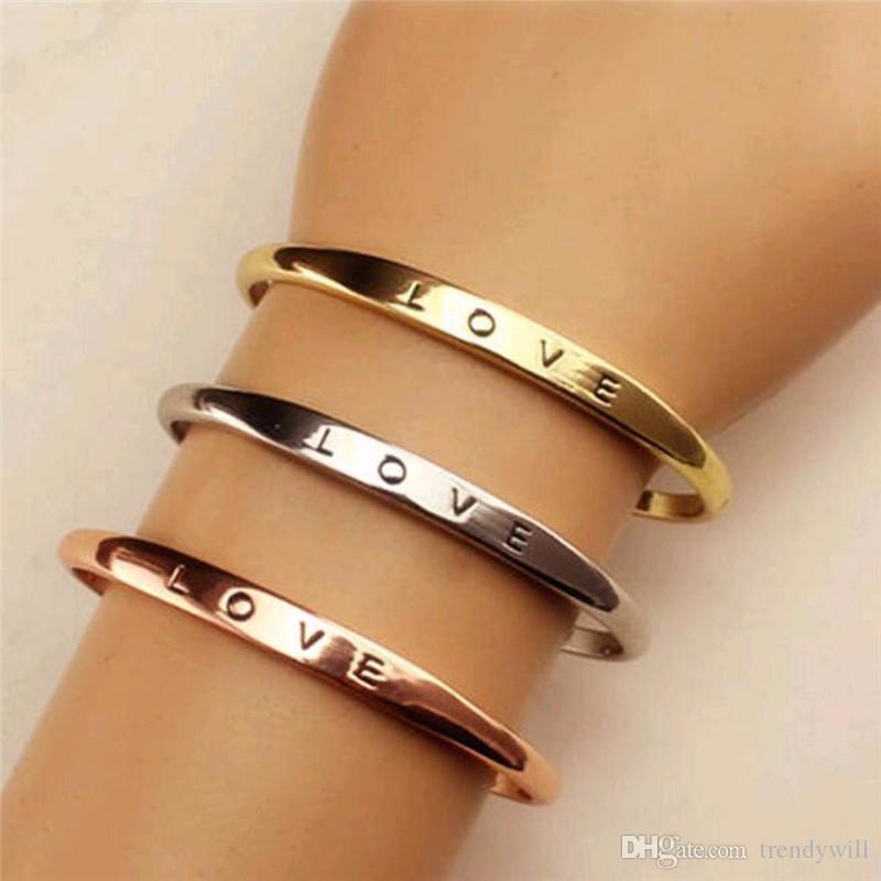Mode Männer Frauen Schraube Hand Liebe Hochzeit Manschette Armband Armband Gold Silber Einfache Buchstaben Armbänder Geschenke