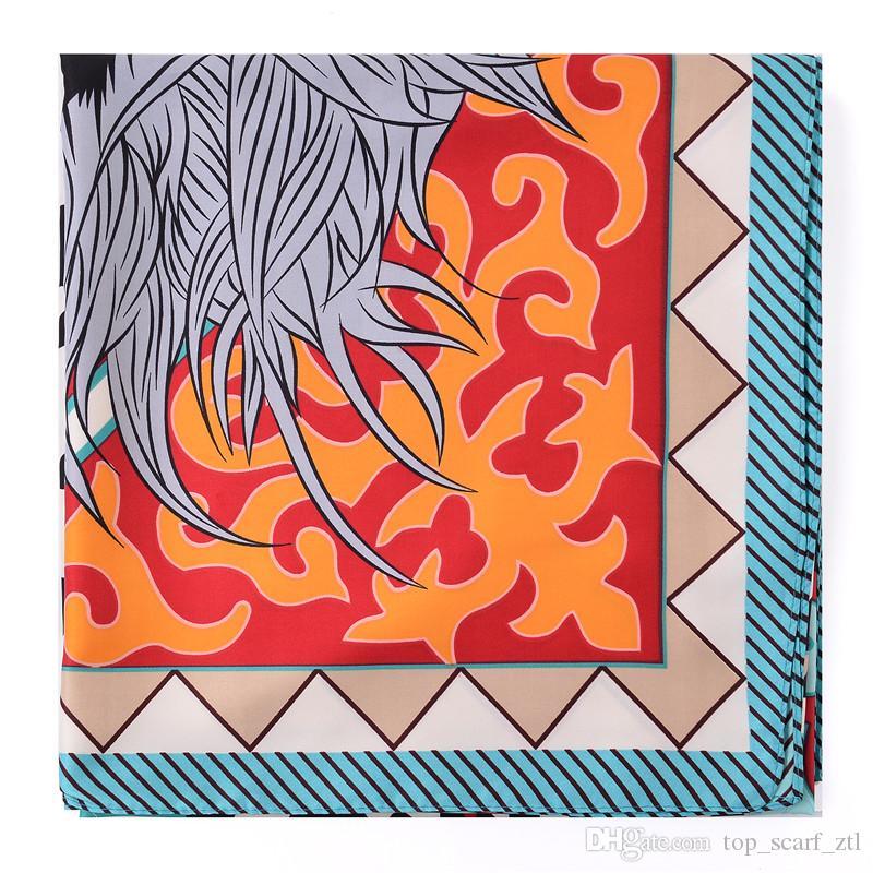Vintage Large Square Silk Scarf Shawls Women Twill Scarf Summer Spring Lady Echarpe Wrap Shawl 130*130