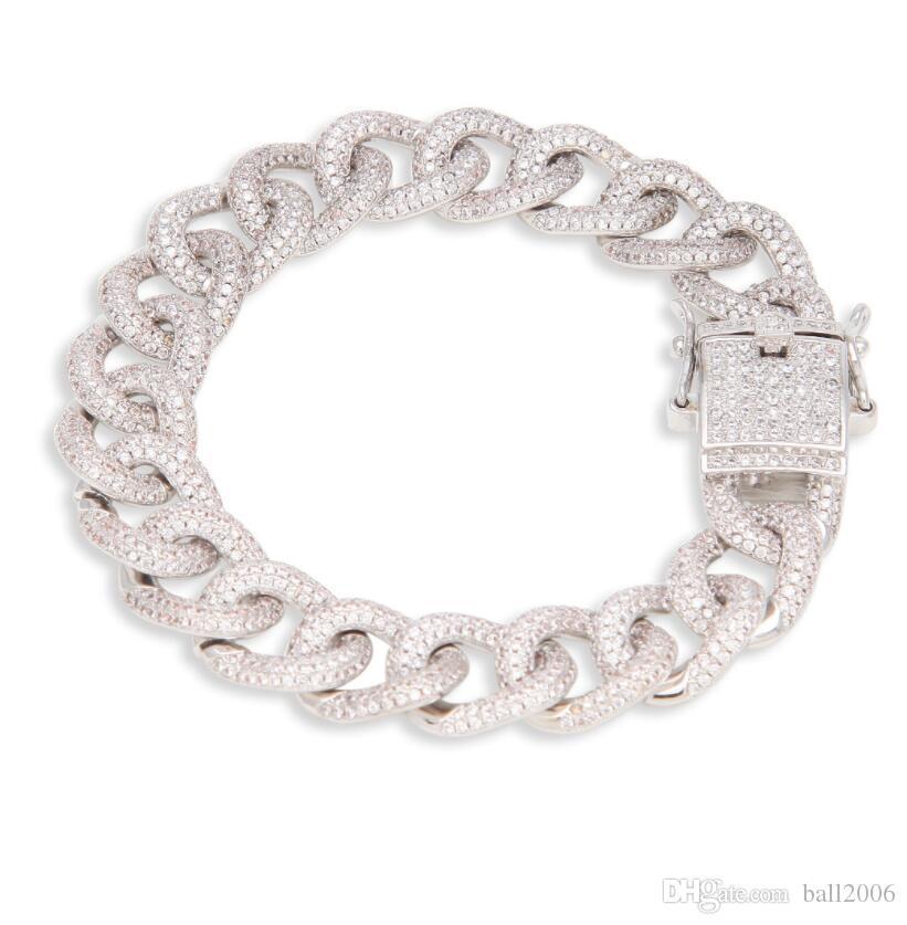 1.2CM Bracelet Cubain incrusté de zircon cubain bijoux de personnalité de la mode pour hommes de la rue hip-hop 8inch