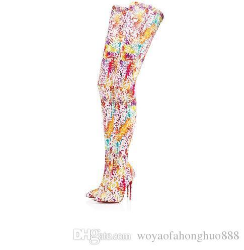 Новый стиль печати Высокого Качества Ницца над коленом Сапоги Femininas с острым носом Сапоги На высоком каблуке Femininas party Свадебные сапоги размер 35-43