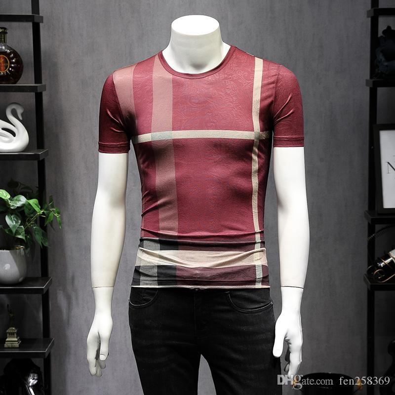 2019 новой летней корейской версии тенденции самосовершенствование льда шелка с короткими рукавами плед футболки мужской большой размер половина рукавами рубашки T