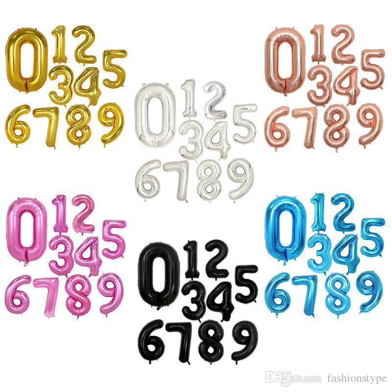 32 Дюймов Гелий Воздушный Шар Номер Буквы Shaped Золото Серебро Надувные Баллоны День Рождения Свадебные Украшения Событие Праздничные Атрибуты