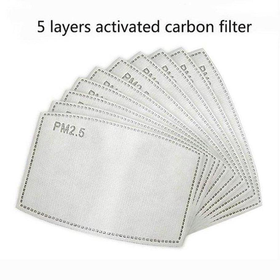Free Shipping 5 layers Activated carbon filter PM2.5 Anti Haze mouth Masks replaceable filters for Activate Carbon Mask filters 100pcs
