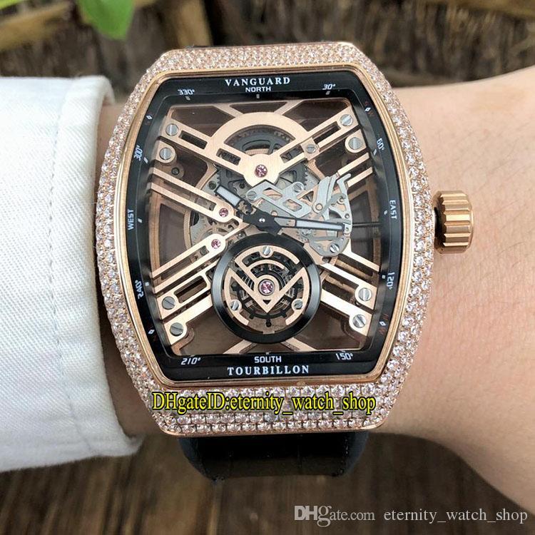 NUEVA SARATOGE VANGUARD ESQUELETO V 45 T SQT Esqueleto Dial diamantes Miyota automático para hombre reloj de oro rosa caja del cuero de la correa de relojes deportivos