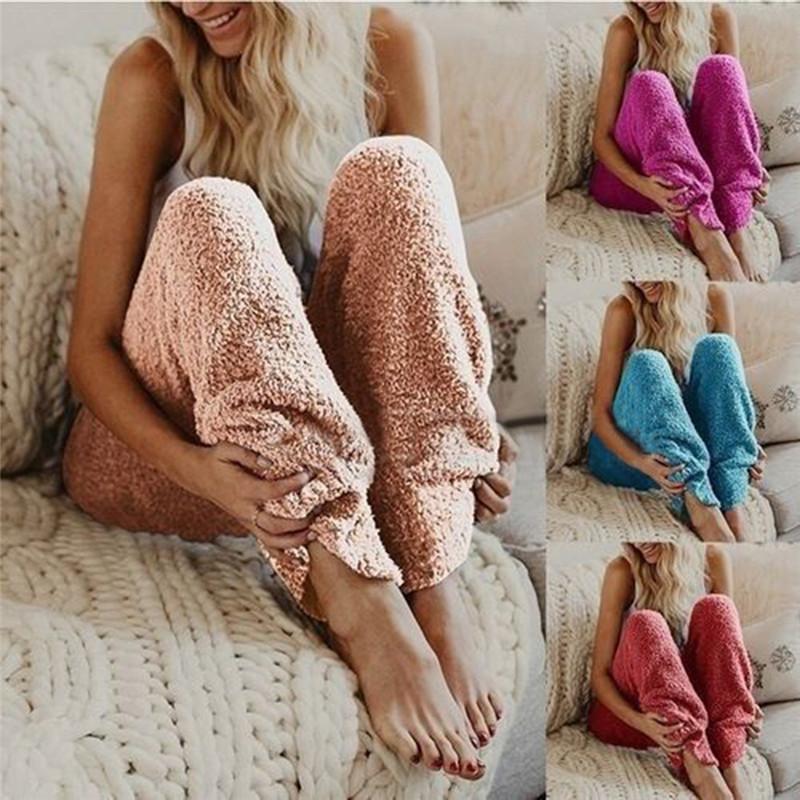 여성 겨울 퍼지 양털 바지 여성 단색 탄성 허리 느슨한 레깅스 바지 잠옷 라운지 수면 따뜻한 봉제 긴 바지 가을
