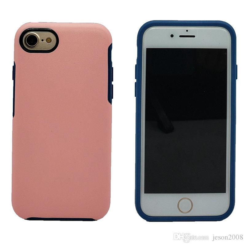 Simetría de lujo a prueba de golpes para el iPhone 8 7 Plus 7 6 6 S Plus Armadura híbrida robusta Cubierta de la cáscara del teléfono móvil Robot Armor Case