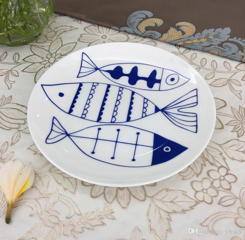 New High Quality Ceramic Creative Simple Dishes 8 Inch Nordic Home Dinnerware Cute Cartoon Plates Breakfast Plate Steak Plate Wholesale