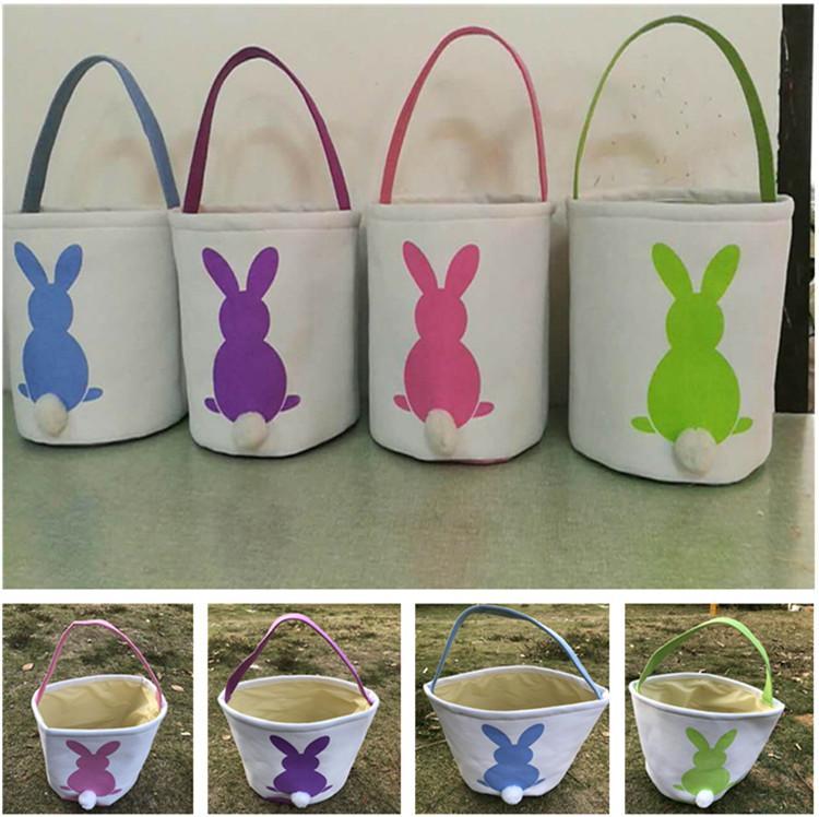 Canvas Easter Basket DIY Rabbit Bags Bunny Storage Bag Cute Burlap Easter Gift Handbags Rabbit Ears Put Easter Eggs 4 Colors 2020