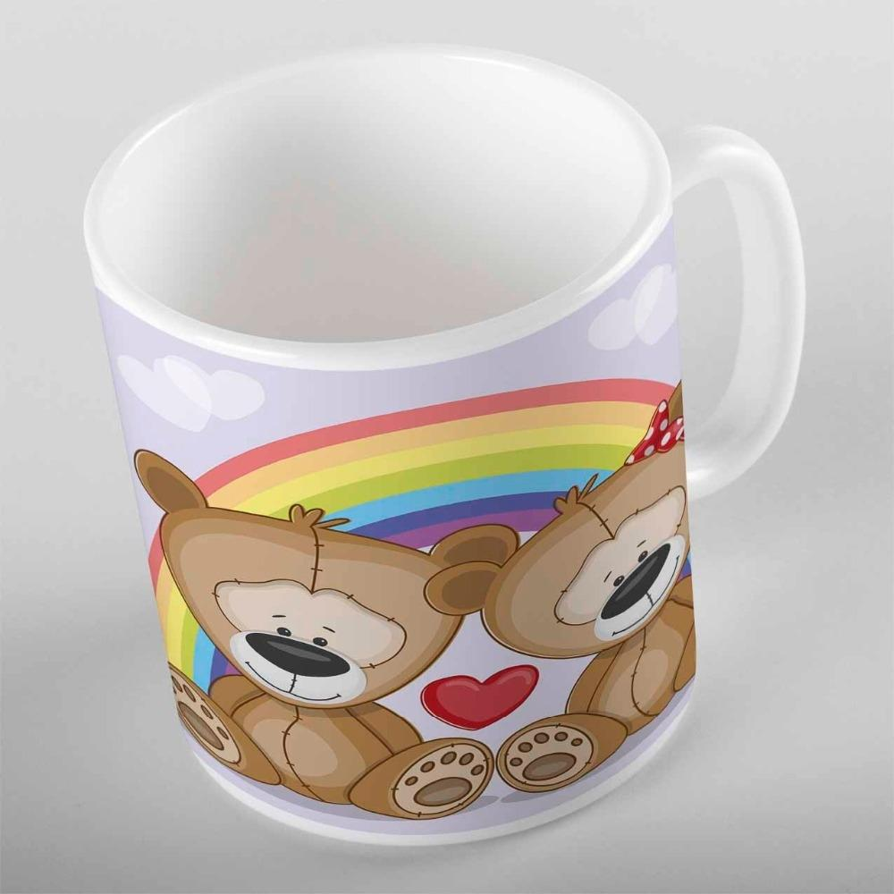 Else Red Love Heart Cute Brown Teddy Bears Rainbow 3D Cartoon Print Children Kids Ceramic Drinking Water Milk Tea Coffee Cup Mug Other Dinne