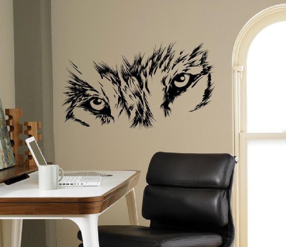 Animal Art Series animal afiada Wolf Eyes parede decalques de vinil Mural fera Design For Home Living Room Decor Sticker