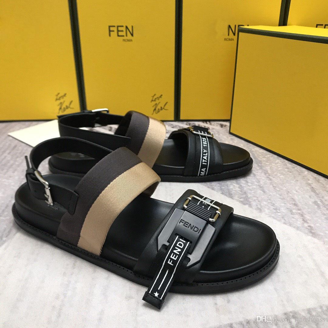 Nouveau luxe designer mens lettre élastique flats Sandals Nouveauté haute qualité été marque gladiateur sandales classique chaussures de sport pour hommes