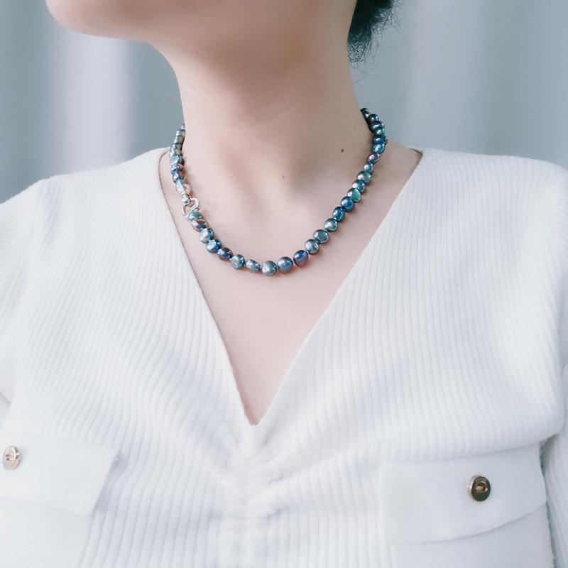 Collares naturales de perlas de agua dulce negro / blanco / rosa / púrpura collar joyería fina para las mujeres