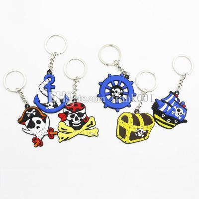 최고 품질의 해적 시리즈 키 체인 PVC 소프트 젤 키 반지 패션 쥬얼리 할로윈 선물 키 체인 도매 무료 배