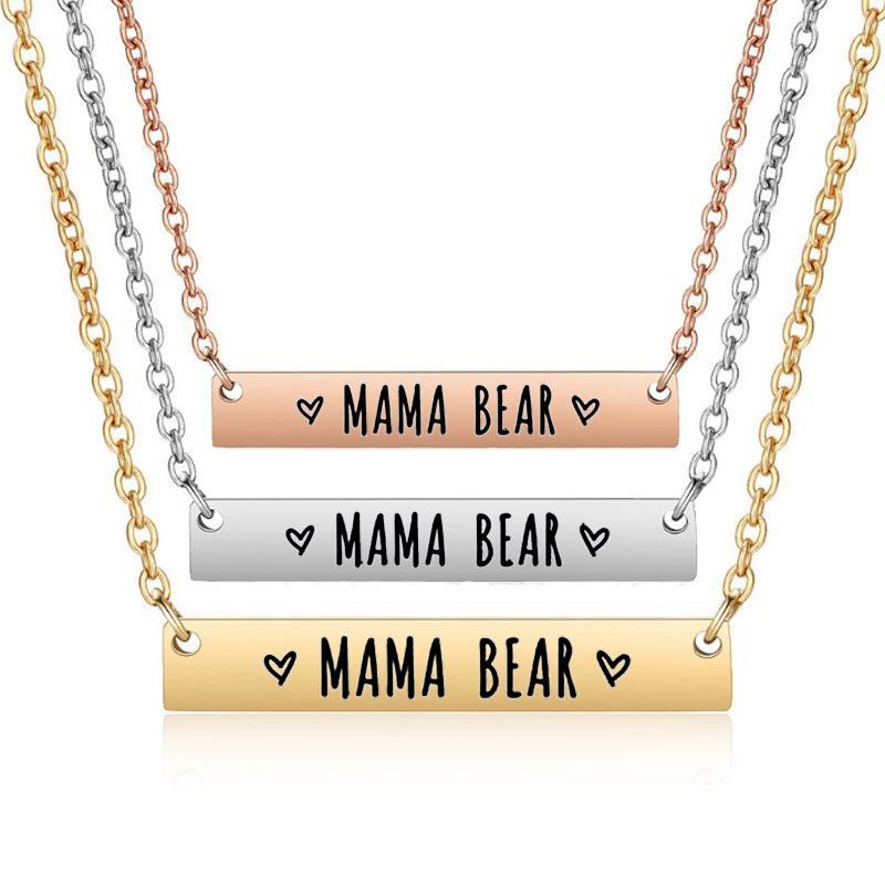 Mère cadeau de Bar Mama Ours Collier Mère Collier en acier inoxydable Clavicule