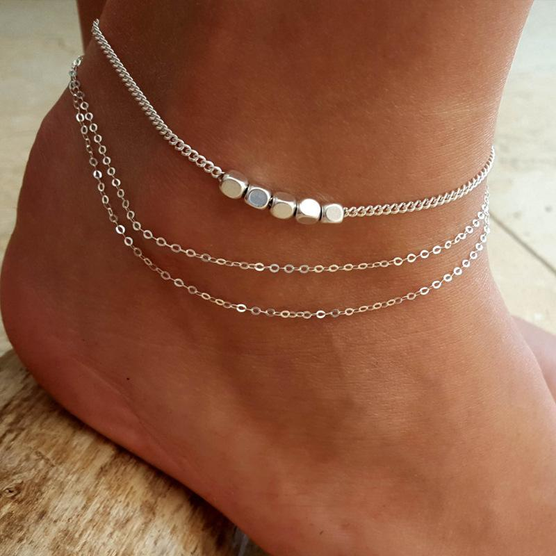 Minimalismo multistrato in argento anklets donne braccialetti di caviglia catena femmina catena del piede metallico perline di fascino spiaggia a piedi nudi