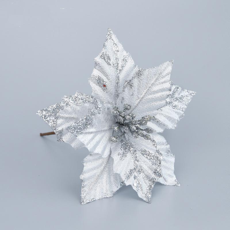 Fontes Festivais 5pcs Estacas flores artificiais prateado Glitter poinsétia Ornamento Home Decor partido da árvore de Natal
